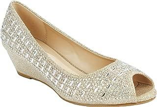 Women Sparkle Glitter Rhinestone Formal Comfort Mid Kitten Wedge Heel Dress Pumps