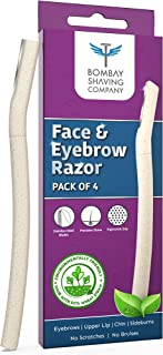 Bombay Shaving Company Face & Eyebrow Razor (Pack of 4) | Reusable & Biodegradable Face Razor For Women | Quick & Easy Fac...