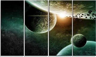 Designart Space Planet Illustration-Contemporary Canvas Art Print-48x28-4 Panels, 28'' Hx48'' Wx1'' D 4P, Green