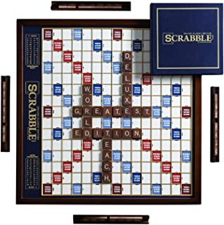 Scrabble Deluxe Edition with Rotating Wooden Game Board