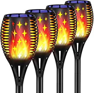 Topmante Upgraded Solar Torch Lights Waterproof Flickering Dancing Flames Torches Lights Outdoor Solar Landscape Decoration Lighting Dusk to Dawn Auto On/Off Path Lights (4 Pack - Star)