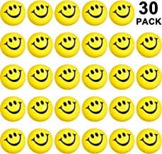 30 Packs Smile Funny Face Stress Balls, Mini Foam Squeeze Sports Ball, Smile Stress Balls for School Carnival Reward, Party Bag Gift Fillers (Yellow)