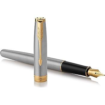 PARKER Sonnet Fountain Pen, Stainless Steel with Gold Trim, Medium Nib (1931505)