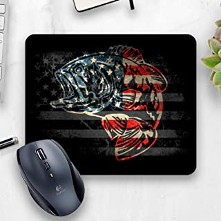 American Flag Large mouth bass Mouse pad, Bass Fisherman Office Decor