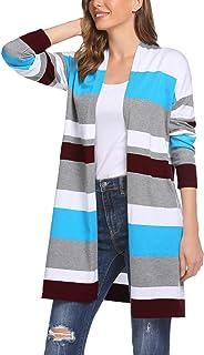 Chigant Women Cardigan Sweater Striped Oversized Boyfriend Style Open Front Long Sleeve Loose Outwear