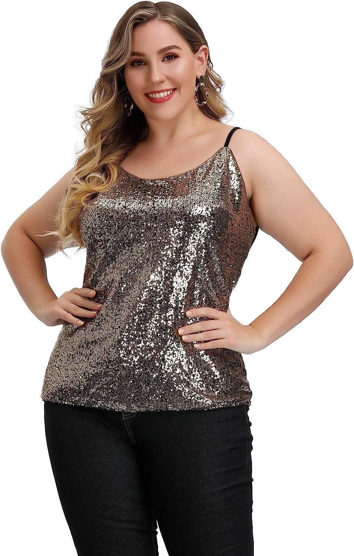 70s Plus Size Costumes | Hippie, Disco Hanna Nikole Womens Plus Size Sequin Tops Glitter Shimmer Sparkle Sleeveless Cami Tank  AT vintagedancer.com