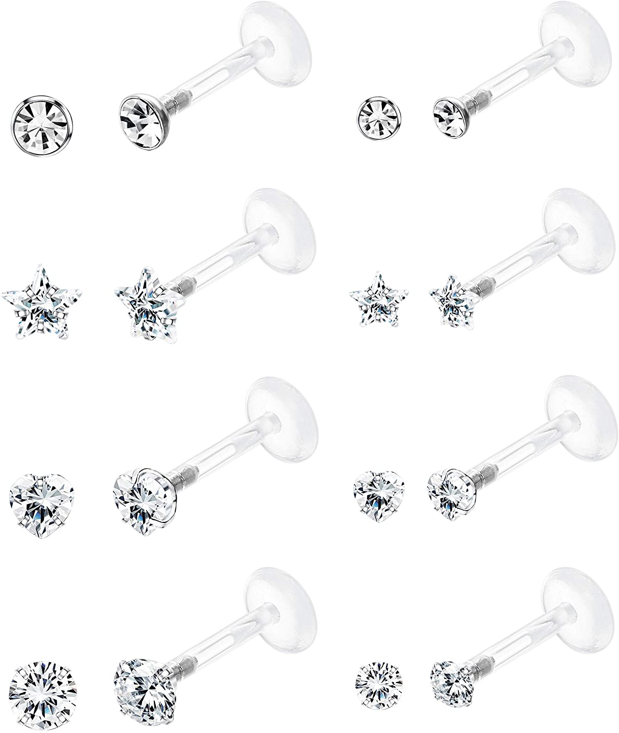 Jstyle 8Pairs 16G Forward Helix Cartilage Tragus Earring Studs Internal Threaded Labret Lip Monroe Ring 8MM Barbell Body Piercing Jewelry