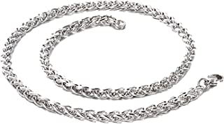 Stainless Steel Fashion Link Chain Necklaces for Men Hiphop/Rock Classic Cuban Personalized Metal Male Jewelry,Sliver,60cm Long