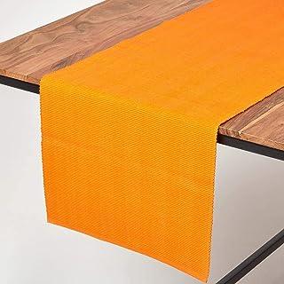 HOMESCAPES Chemin de Table Orange, Linge de Table en Coton uni, Décoration de Table
