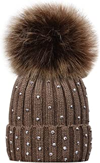 Kids Winter Knitted Hats, Toddlers Baby Boys Girls Beanie Hat with Shiny Diamonds, Faux Fur Pom Pom Cap for Kids