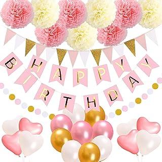 مراسم تولد لوازم دکوراسیون سال نو، بنر تولدت مبارک، 15 پرچم پرچم سه گانه، 9 گل پام گل ها، 17 گلدان تولد، 1 گلدان گلدان صورتی و طلایی برای بچه ها
