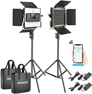 Neewer 2 Packs 528 LED Video Light, Metal Dimmable Bi-Color 3200K-5600K Photography Lighting Kit with APP Intelligent Control System/LCD Screen/and Light Stand for Studio Outdoor Video Lighting