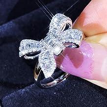 Nieuwe Collectie Vlinderdas Ladder Diamanten Ringen Mooie Luxe Simulatie Mode-sieraden Temperament Vrouwelijke Trouwring V...