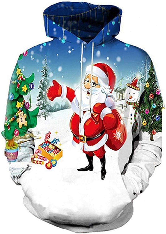 EvaFAST Plus Size Unisex Couples Christmas 3D Santa Claus Print