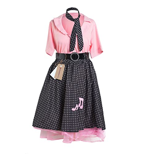 1950's Rock and Roll Ladies Fancy Dress Costume by Emma's Wardrobe - Includes Polka Dot Skirt, Pink Shirt, Black Belt and Scarf –for Hen Parties or Grease Pink Lady – UK Size 8 - 22