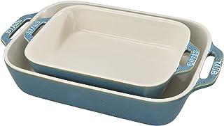 STAUB Ceramics Rectangular Baking Dish Set, Casserole Dish, Baking Pans for Lasagna, Cake, 2-Piece, Rustic Turquoise