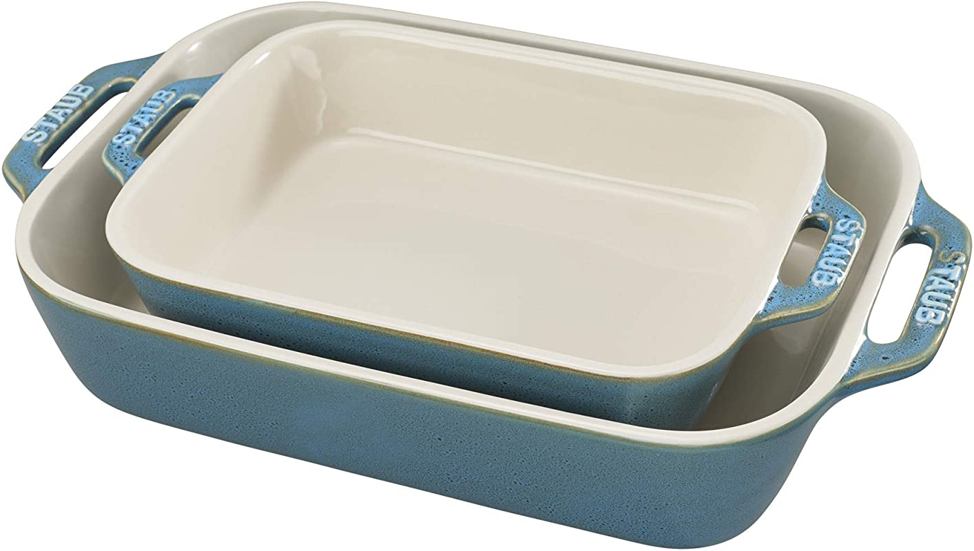 Staub 40511 924 Ceramics Rectangular Baking Dish Set 2 Piece Rustic Turquoise