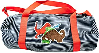 Toddler Dinosaur Duffel Bag for Boys Preschool Striped Denim Small, Weekender Luggage, Made in the USA