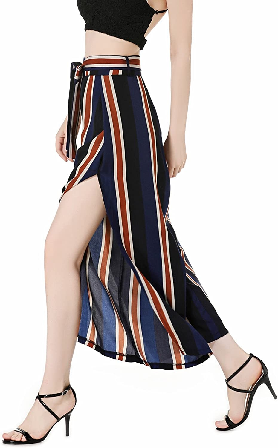 Women's Casual Stripe High Waisted Culotte Slip Palazzo Pants for Women