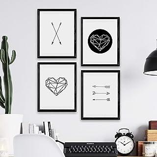 Nacnic Ensemble d'affiches Formes géométriques Coeur et Flèches. Décoration de la Maison Style Nordique pour Une Touche Or...
