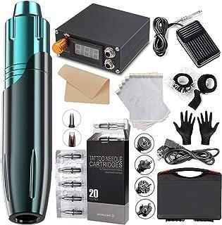 Crtkoiwa Hybride Pen Machine Kit professionele Rotary Tattoo Machine met 20 stuks Tattoo Cartridges Digitale Voeding Wegwe...