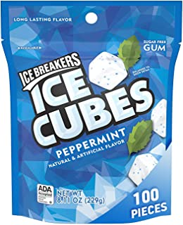 Ice Breakers, Ice Cubes Gum in Peppermint Sugar Free with Xylitol, 8.11 oz