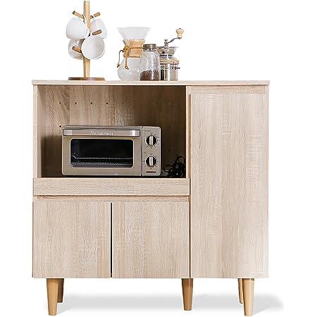 LOWYA ロウヤ 下段単品 食器棚 レンジ台 スライド棚 可動棚4枚 キッチンラック 幅90 オーク