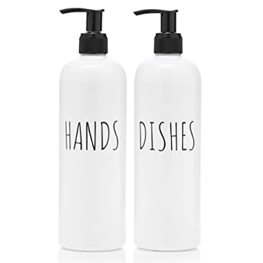 Vada Designs Soap Dispenser Bottles Hands and Dishes 16 oz Plastic with Pump |Farmhouse Decor, Kitchen, Bathroom| Rust Free and Shatter Proof | 2 Piece Reusable for Hand and Dish Liquid Soap