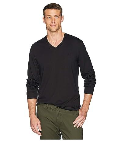 Calvin Klein Long Sleeve Jersey V-Neck T-Shirt (Black) Men