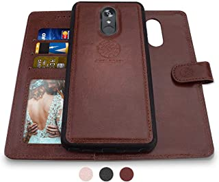 Shields Up LG Stylo 5/ LG Stylo 5V Wallet Case, [Detachable] Magnetic Wallet Case, Durable and Slim, Lightweight with Card/Cash Slots, Wrist Strap, [Vegan Leather] Cover for LG Stylo 5 -Brown