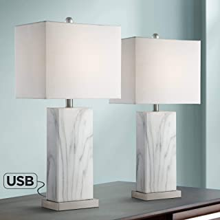 Connie Modern Table Lamps Set of 2 with USB Charging Ports White Faux Marble Rectangular Shade for Living Room Bedroom Bedside Nightstand Office Family - 360 Lighting