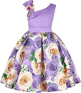 WUFAN Little Girls Princess Cute Floral Printed Fashion Dress with Bow