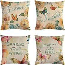 ULOVE LOVE YOURSELF 4Pack Flowers Blossom Throw Pillow Covers with Freedom Butterfly Pattern Square Decorative Cushion Covers Pillowcase Cushion Case for Sofa,Couch 18 x18 Inches (Flowers Blossom)