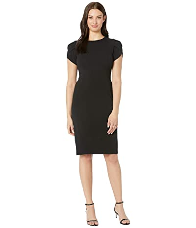 Donna Morgan Tulip Sleeve Crew Neck Sheath Dress (Black) Women