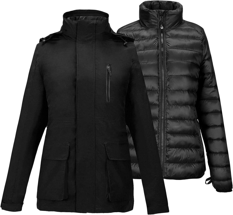 SNOWDOWN Womens 3 in 1 Waterproof Ski Jacket Windproof Winter Snow Coat Warm Snowboarding Jackets