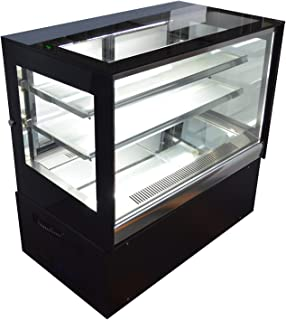 INTBUYING 220V 35inch Glass Refrigerated Cake Pie Showcase Bakery Display Case Cabinet Countertop Right Angle Back Door
