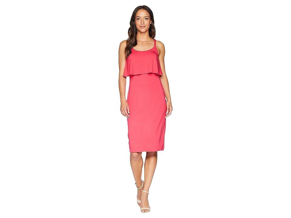 MICHAEL Michael Kors Solid Flounce Tank Dress (Deep Pink) Women