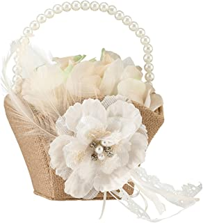 Lillian Rose Rustic Burlap Lace Wedding Flower Girl Basket