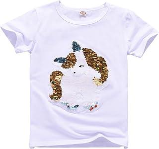 35ccf2f51 Camiseta de Lentejuelas Unicornio para niña Camiseta de Manga Corta con  Cuello Redondo en algodón Top