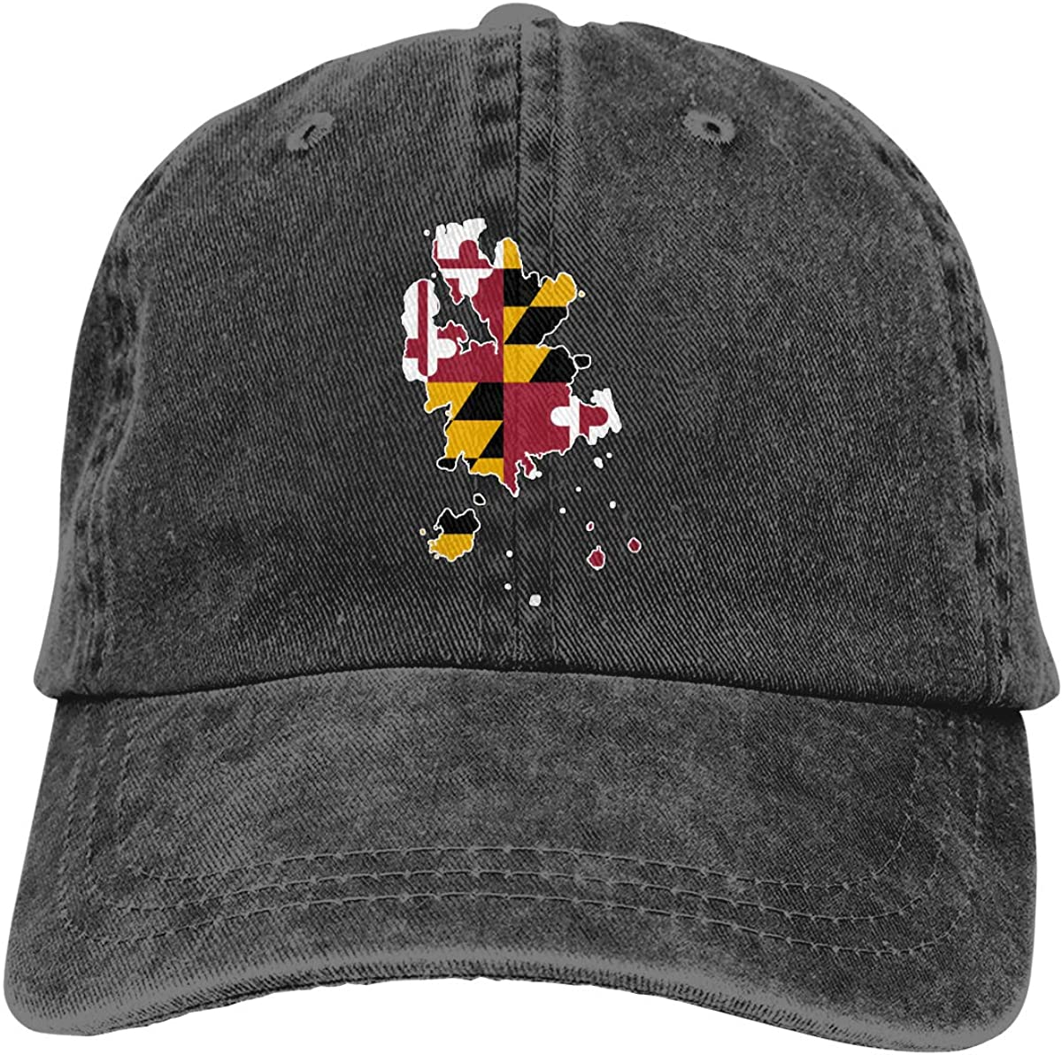 Womens Maryland Flag Art Washed Denim Baseball Caps Adjustable Trucker Cap