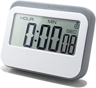 LeisureLife - Digital Timer Multifunction Large LCD. 3 mode - Clock,Countup,Countdown. Accurate to seconds. For Cooking,Study,Games (grey)