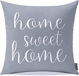 """Meekio Farmhouse Gray Pillow Covers with Home Sweet Home Quotes 18"""" x 18"""" for Farmhouse Decor Housewarming Gifts for New Home"""
