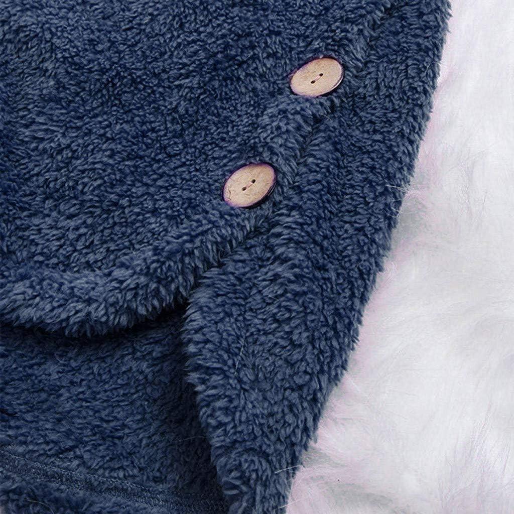 Momoxi 2020 Fleece Patchwork Plüsch Damen Jacke Knopf Plus Größen Weihnachtspullover Asymmetrischer Weihnachtsmann lose Strickjacke Bluse Für Weihnachten Winter Bis 6XL G-marine