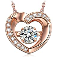 DANCING HEART ♥ Dancing Stone Series ♥Mothers Day Necklace Gifts 925 Sterling Silver Women...