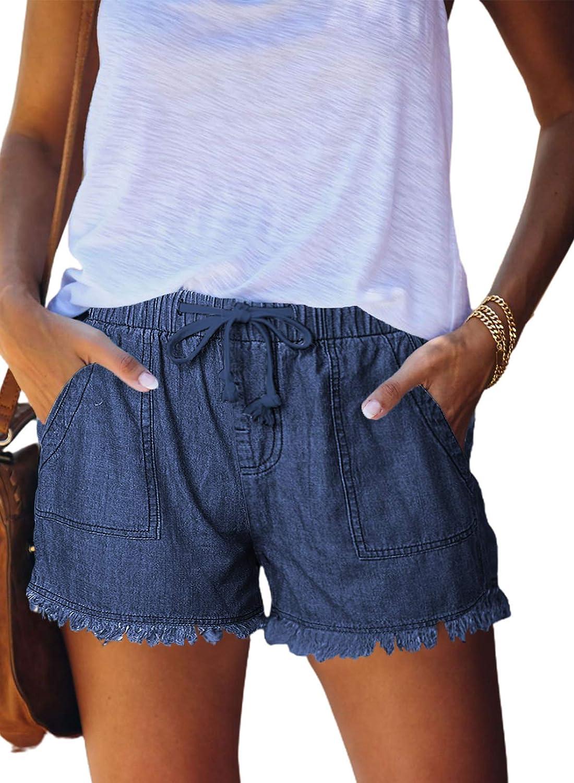 ROSKIKI Womens Summer Drawstring Pocketed Frayed Tencel Denim Jeans Shorts