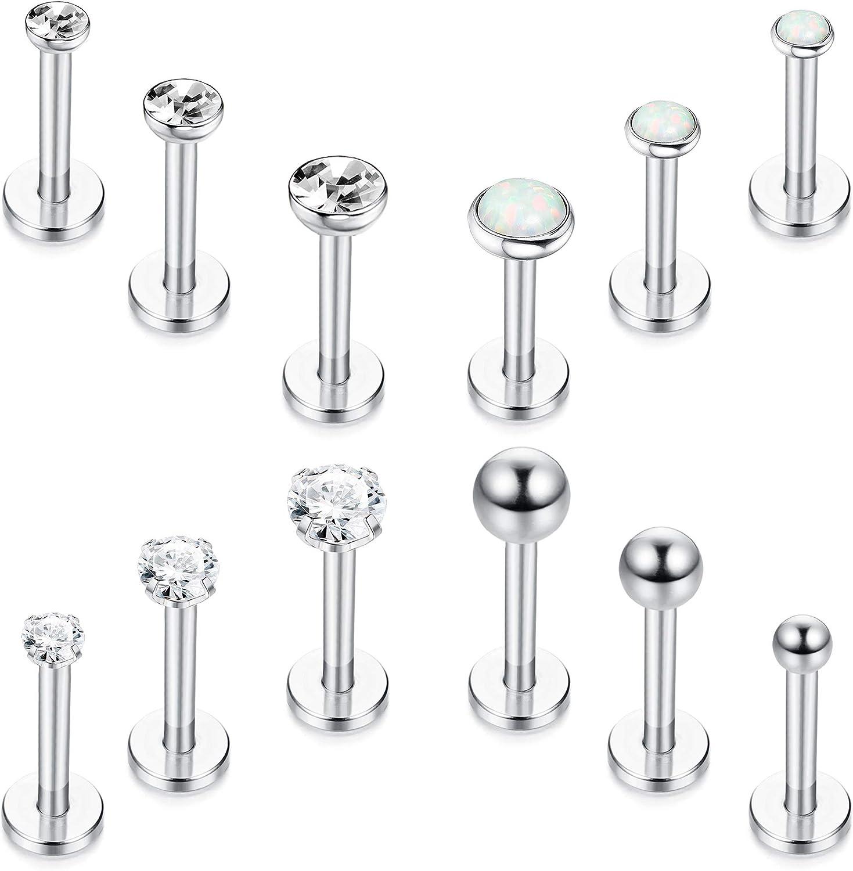 Drperfect 12 Pcs Lip Rings for Women Men 16 Gauge Stainless Steel Labret Studs Cartilage Forward Helix Tragus Earrings Monroe Medusa Piercing Jewelry