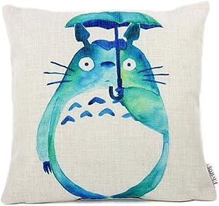 Elviros Lino y Algodón Blend Decorativo Funda de Cojínes 45x45 cm [18x18'' pulgadas] Totoro Verde