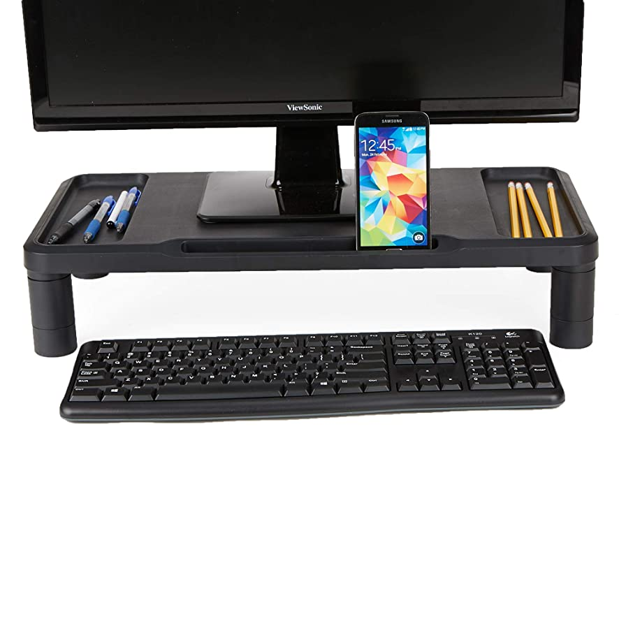 Mind Reader LGPLMONST-BLK Monitor Stand, Durable Plastic Monitor Riser, for Computer Monitor, Laptop, PC, MacBook, Black