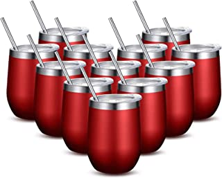 Fungun Stemless Wine Tumbler, 12 Oz Stainless Steel Wine Glass 12 Pack Red