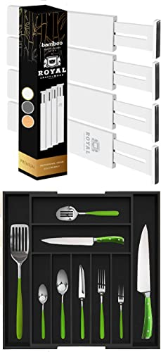 2021 White outlet sale Drawer wholesale Dividers 17IN and Black Silverware Drawer Organizer sale